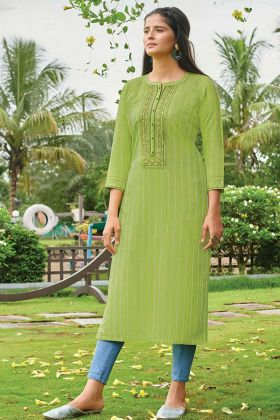 Readymade Printed Straight Cut Kurti In Green Color