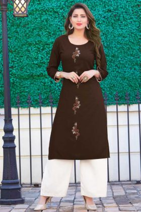 Readymade Rayon Coffee Casual Latest Kurti