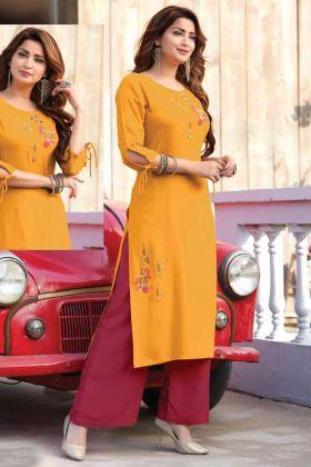 Readymade Rayon Yellow Casual Latest Kurti