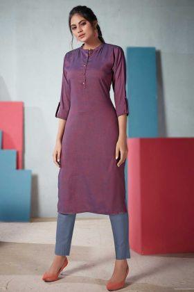 Readymade Violet Plain Casual Wear Two Tone Rayon Kurti