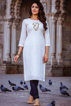 Readymade White Rayon Kurti With Dark Blue Bottom