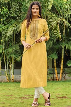 Readymade Yellow Printed Casual Wear Kurti