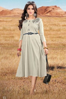 Readymade Cotton Fabric Pale Grey Color Designer Kurti