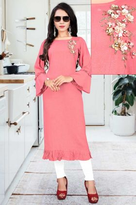 Readymade Designer Heavy Slub Rayon Fancy Kurti Peach Color