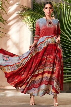 Readymade Gown Red And Grey Color Beautiful Prints