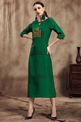 Readymade Kurti Muslin Green Color With Thread Embroidery Work