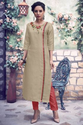 Readymade Pair Of Kurti With Bottom In Light Beige And Red Color