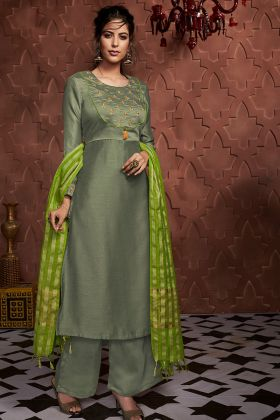 Readymade Palazzo Suit With Soft Silk Olive Green Color