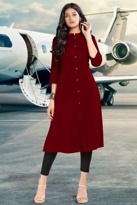 Readymade Plain Kurti In Maroon Color Fabric Rayon