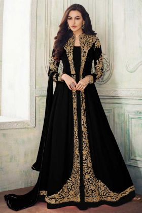Real Georgette Party Wear Designer Black Suit