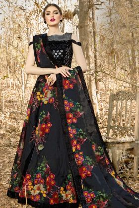 Reception Special Orgenza Black Lehenga Choli