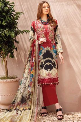 Red And Multi Cotton Satin Pakistani Style Suit