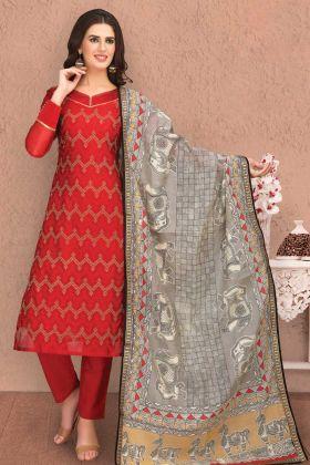 Red Banarasi Chanderi Silk Churidar Salwar Suit