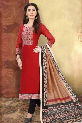 Red Chanderi Silk Churidar Dress With Art Silk Dupatta