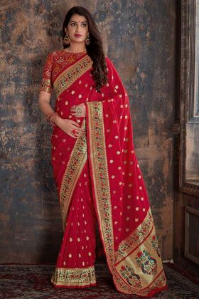 Red Color Banarasi Silk New Model Sarees