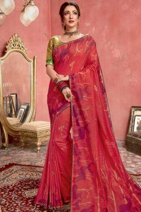 Red Color Blended Cotton Jacquard Banarasi Silk Saree