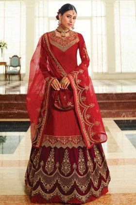 Red Color Bollywood Salwar Kameez In Satin Georgette Fabric