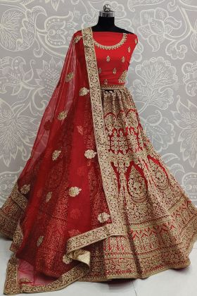 Red Color Bridal Embroidered Lehenga Choli In Heavy Net Fabric