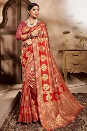 Red Color Cotton Silk Sarees For Wedding