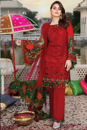 Red Color Georgette Heavy Embroidered Pakistani Salwar Kameez