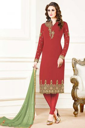 Red Color Georgette Salwar Suit With Chiffon Dupatta