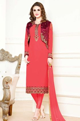 Red Color Georgette Straight Salwar Suit