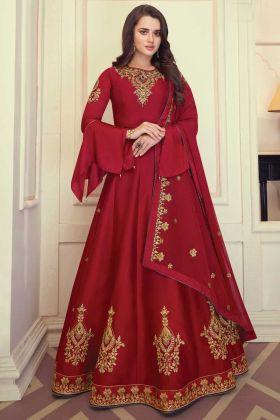 Red Color Heavy Maslin Silk Party Wear Anarkali Suit