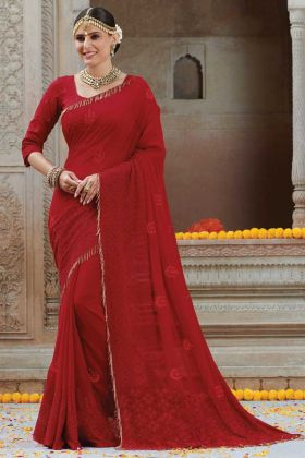 Red Color Lace Border Chiffon Saree For Karwa Chauth