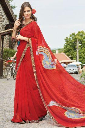 Red Color Lovable Floral Designing Georgette Saree