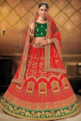 Red Color Malai Satin Fantastic Designer Heavy Bridal Lehenga For Shadi