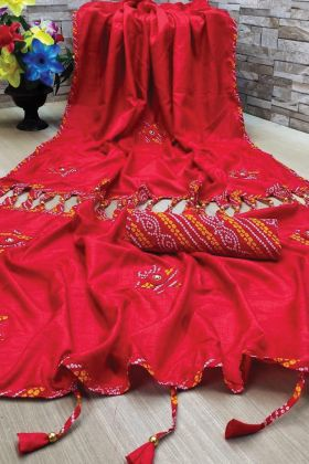 Red Color New And Fancy  Saree Collection In Dola Silk Fabric