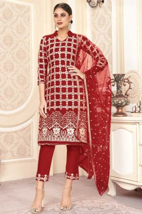 Red Color Party Wear Butterfly Net Charming Pakistani Salwar Kameez