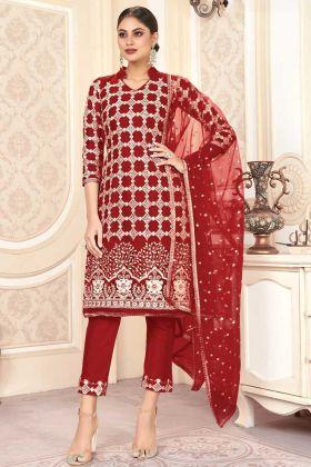 Red Color Party Wear Butterfly Net Charming Pakistani Salwar Kameez
