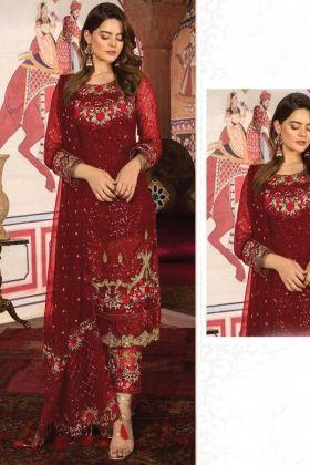 Red Color Party Wear Designer Pakistani Style Suit