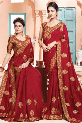 Red Color Party Wear Weaving Work Saree