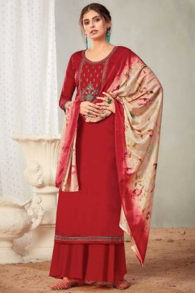 Red Color Pure Solid Zam Cotton Plazzo Style Salwar Suit
