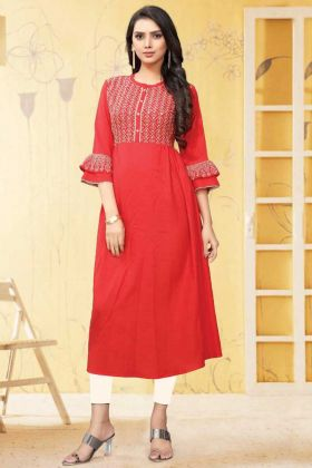 Red Color Rayon Flex Thread Work Readymade Kurti