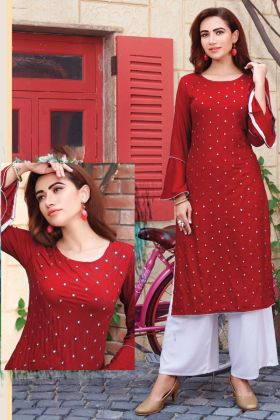 Red Color Rayon Kurti With Palazzo For Regular Wear