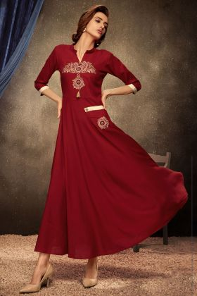 Red Color Rayon Readymade Gown For Women