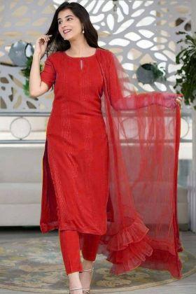 Red color salwar Suit With Nylon Mono Net fancy Dupatta