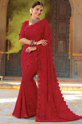 Red Color Stone Work Chiffon Saree For Karwa Chauth