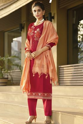 Red Color Woman Ethnic Hit Designer Zam Silk Salwar Suit