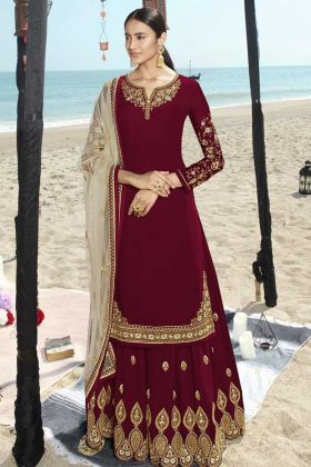 Red Designer Party Wear Faux Georgette Sharara Salwar Kameez