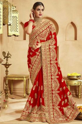 Red Embroidered Saree For  Upcoming Wedding Season