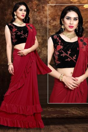 Red Fancy Fabric Designer Ready To Wear Saree