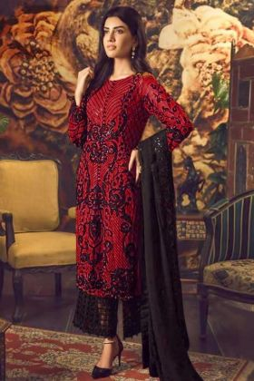Red Faux Georgette Palazzo Suit With Dupatta