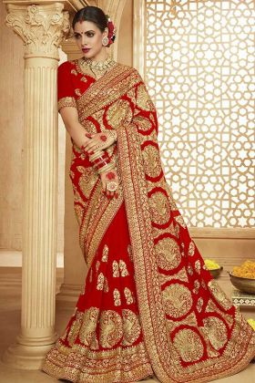 Red Georgette Embroidered Saree For Women