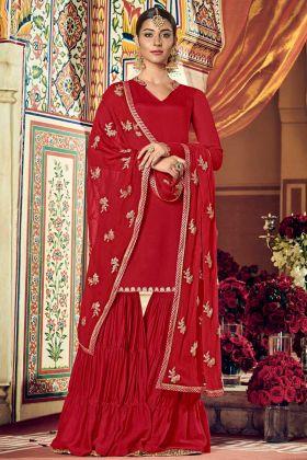 Red Georgette Wedding Wear Designer Sharara Suit