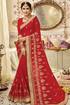 Red Party Wear Embroidery Georgette Saree