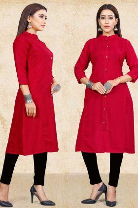 Red Plain Cotton Slub Straight Kurti Neck Designs